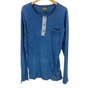 True Religion Men's Henley Tee Long Sleeve T-Shirt